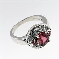 SILVER RING WITH PINK TOURMALINE AND WHITE ZIRCON