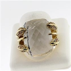 SILVER RING WITH RUTEIL QUARTZ AND CITRENE