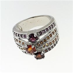 SILVER RING WITH SPESSARITE, RHODOLITE AND GARNET