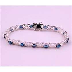 SILVER BRACELET WITH LONDON BLUE