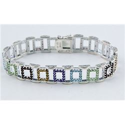 SILVER BRACELET WITH MULTI GEMS