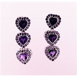 SILVER EARRING WITH AMETHYST