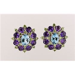 SILVER EARRING WITH BLUE TOPAZ, AMETHYST AND PERIDOT