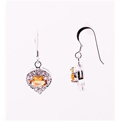 SILVER EARRING WITH CITRENE AND WHITE TOPAZ