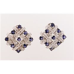 SILVER EARRING WITH IOLITE AND WHITE TOPAZ