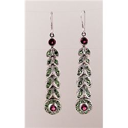 SILVER EARRING WITH PINK TOURMALINE AND TSAVORITE