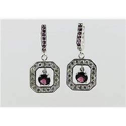 SILVER EARRING WITH RHODOLITE AND WHITE TOPAZ