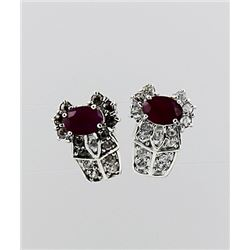 SILVER EARRING WITH RUBY AND WHITE TOPAZ