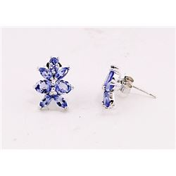 SILVER EARRING WITH TANZANITE