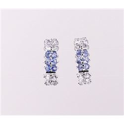 SILVER EARRING WITH TANZANITE AND WHITE ZIRCON