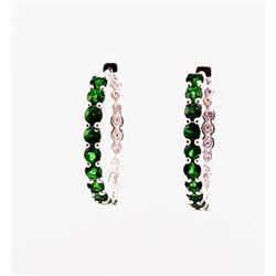 SILVER HOOP EARRING WITH CHROME DIOPSIDE