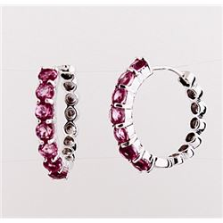SILVER HOOP EARRING WITH PINK QUARTZ