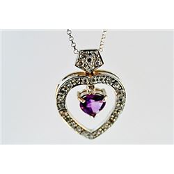 SILVER PENDANT WITH AMETHYST AND WHITE TOPAZ