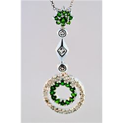 SILVER PENDANT WITH CHROME DIOPSIDE AND WHITE TOPAZ