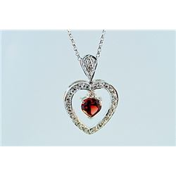 SILVER PENDANT WITH GARNET AND WHITE TOPAZ