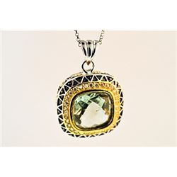SILVER PENDANT WITH GREEN AMETHYST