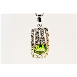 SILVER PENDANT WITH PERIDOT AND WHITE TOPAZ