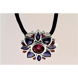 SILVER PENDANT WITH PINK TOURMALINE AND IOLITE