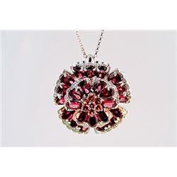 SILVER PENDANT WITH RHODOLITE