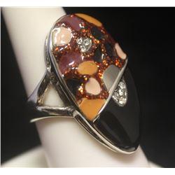 Fine Citrine & White Sapphire Silver Ring