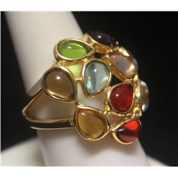 Elegant 14kt Gold over Silver Pear Shape Mix Stones Ring