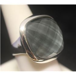 Exquisite Checkered Black Sapphire Silver Ring