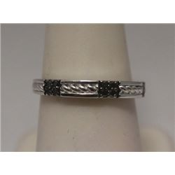 Exquisite Black Diamonds Silver Ring