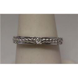Elegant White Diamonds Silver Band