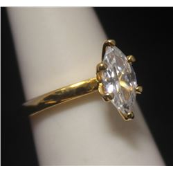 Fine 14kt Gold over Silver Marquise Shape Russian Cubic Zirconia Ring