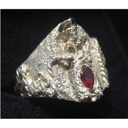 Fancy Ruby Silver Ring