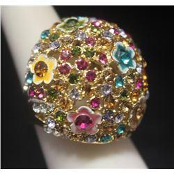 Lavish 14kt Gold over Silver Mix Stones Designer Ring