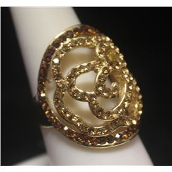 Exquisite 14kt Gold over Silver Citrine & Golden Sapphire Ring
