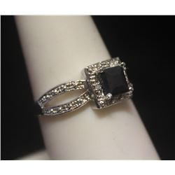 Lavish Sapphire & Diamonds Silver Ring