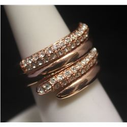 Elegant 14kt Rose Gold over Silver Sapphire Ring