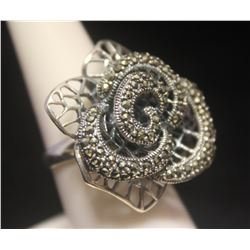 Fancy Flower Marcasite Designer Silver Ring