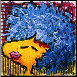 Bird Lips in a Blue Suede Wig by Tom Everhart