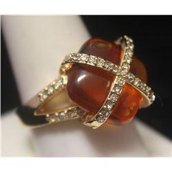 Dazzling 14kt Gold over Silver Citrine & Diamonds Ring