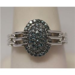 Very Fancy Blue Diamonds Silver Ring