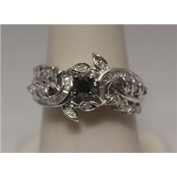 Exquisite Black, White & Baguette Diamonds  Silver Ring