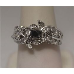 Beautiful Black, White & Baguette Diamonds Silver Ring