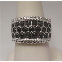 Beautiful Unisex Black Diamonds Silver Ring