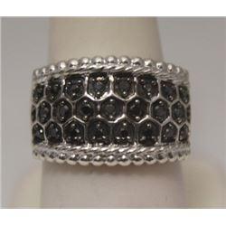 Exquisite Unisex Black Diamonds Silver Ring