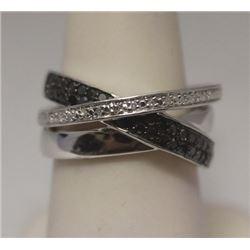 Lavish Black & White Diamonds  Silver Ring