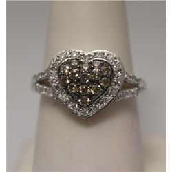 Stunning Heart Shape Champagne & White Diamonds Silver Ring