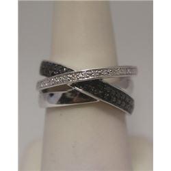Dazzling Black & White Diamonds Silver Ring