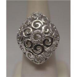 Fancy White Diamonds Silver Ring