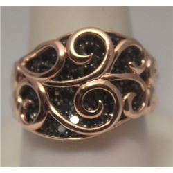 Gorgeous 14kt Rose Gold over Silver Black Diamonds Ring