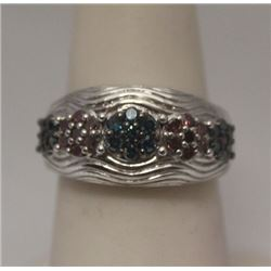 Beautiful Blue & Red Diamonds Silver Ring