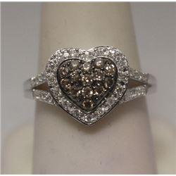 Beautiful Heart Shape Champagne & White Diamonds Silver Ring
