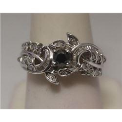 Fancy Black, White & Baguette Diamonds Silver Ring